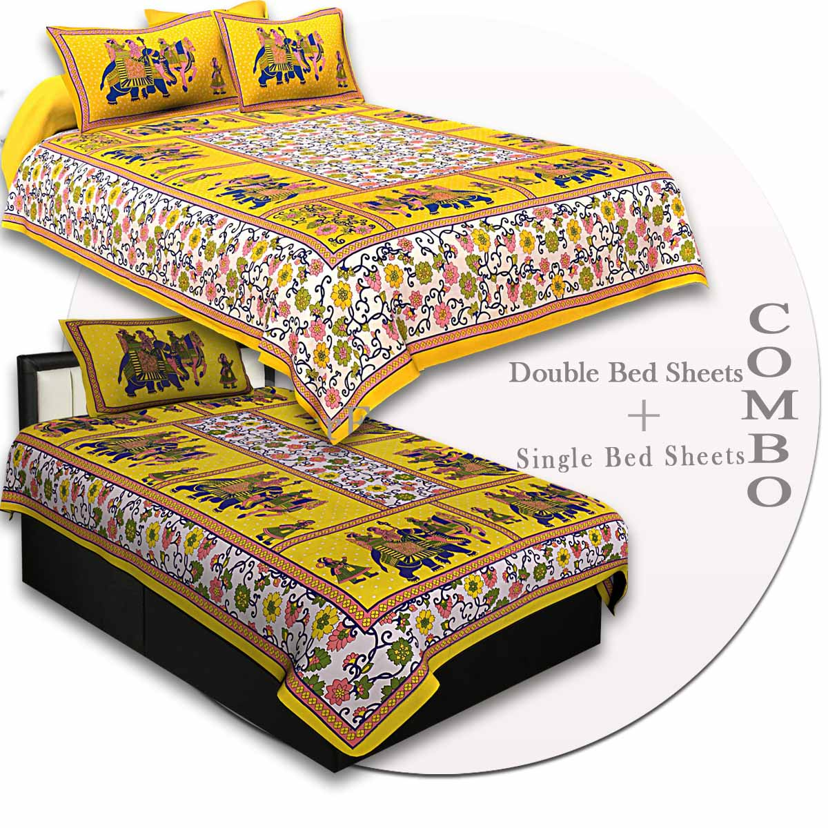 COMBO73- Set of 1 Double Bedsheet and  1 Single Bedsheet With  2+1 Pillow Cover