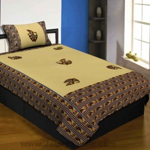 Applique Cream Gujri Jaipuri  Hand Made Embroidery Patch Work Single Bedsheet