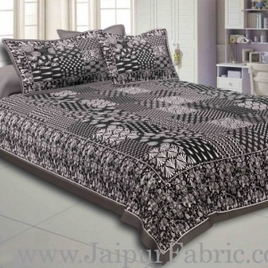 Grey Border Black Base Checks Design Cotton Double Bedsheet With Pillow Cover