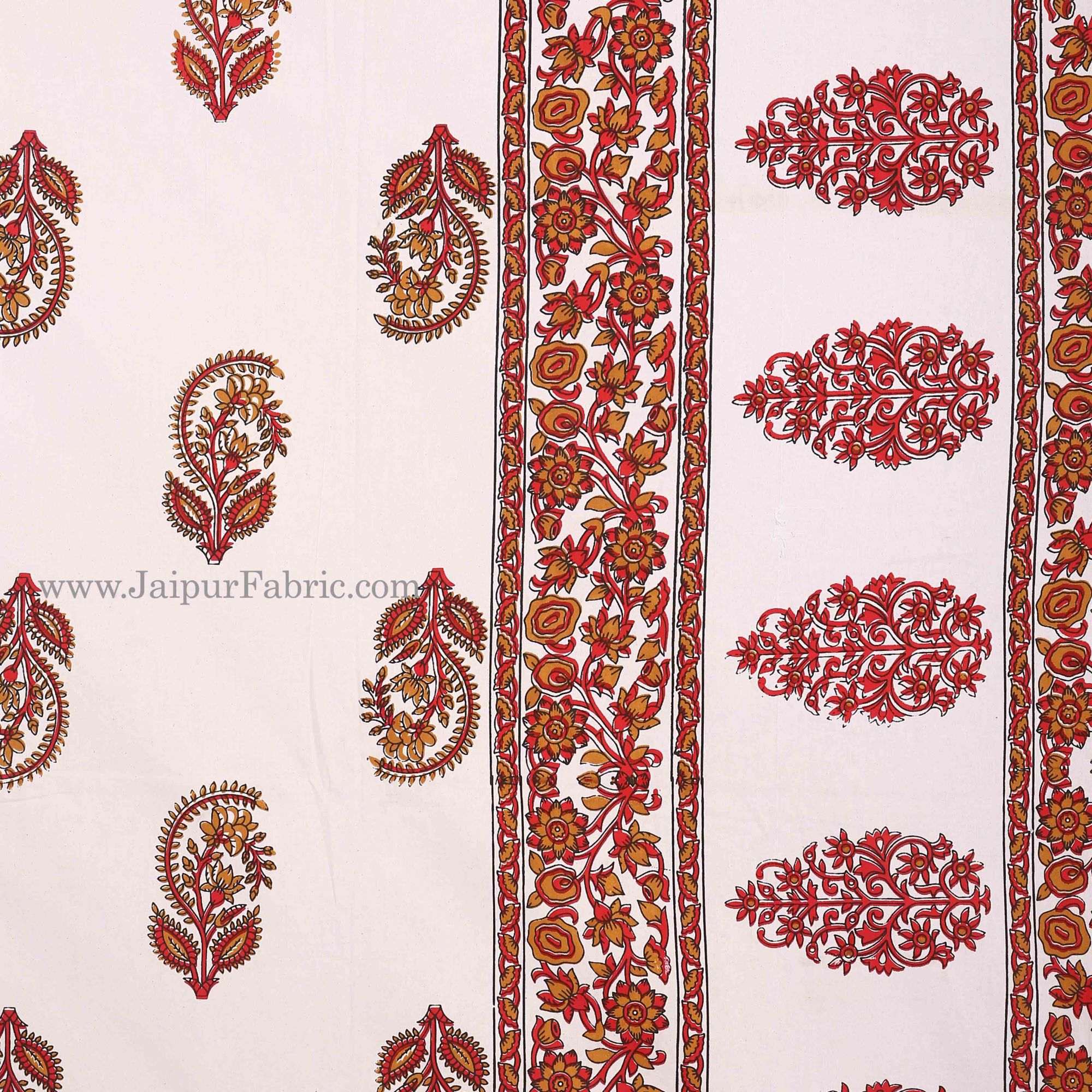 Red  Border White Base Gamla And Booti Print Cotton Double Bed Sheet