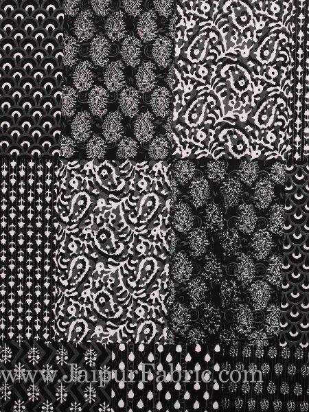 Grey Border Black Base Checks Design Cotton Double Bedsheet With Pillow Cover