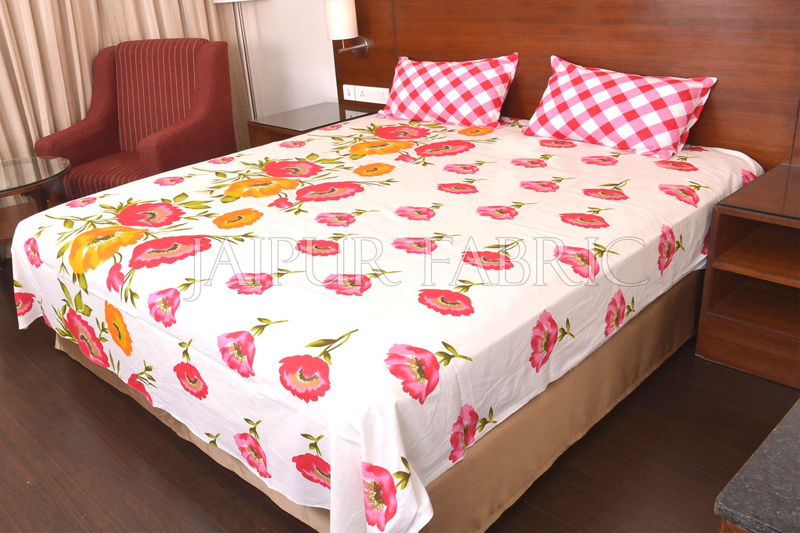 Pink Checkered Plaid Pattern Double Bed Sheet