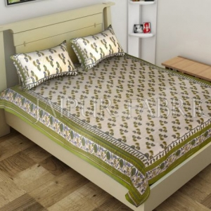 Green Anthemion Pattern Cotton Single Bed Sheet