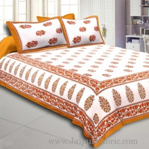 Brown Border White Base Gamla And Booti Print Cotton Double Bed Sheet