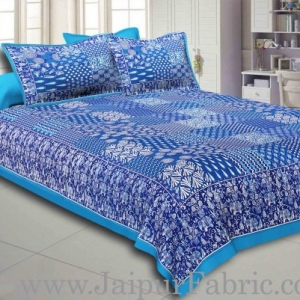 Sea Green Border Blue Base Checks Design Cotton Double Bedsheet With Pillow Cover