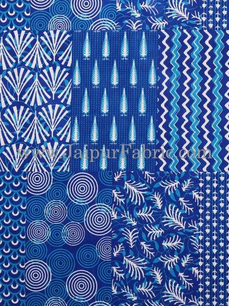 Sea Green Border Blue Base Checks Design Cotton Double Bedsheet With Pillow Cover