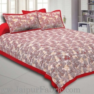 Radish Maroon Border Dense Leaf Pattern Cotton Satin Bed Sheet
