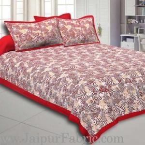 Radish Maroon Border Dense Leaf Pattern Cotton Satin Bed Sheet