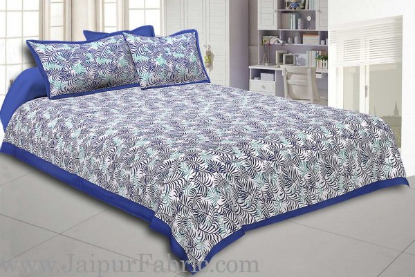 Navy Blur Border Dense Leaf Pattern Cotton Satin Bed Sheet