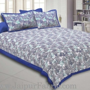 Navy Blur Border Dense Leaf Pattern Cotton Satin Bed Sheet