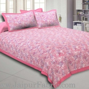 Pink  Border Dense Leaf Pattern Cotton Satin Bed Sheet