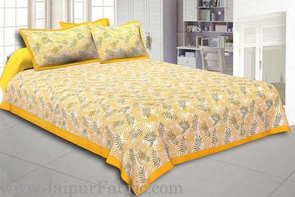 Yellow Border Dense Leaf Pattern Cotton Satin  Double Bed Sheet