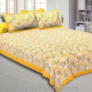 Yellow Border Dense Leaf Pattern Cotton Satin  Double Bed Sheet