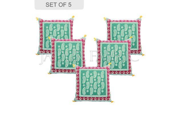 Green Base Maroon Border Keri Design Cotton Cushion Cover
