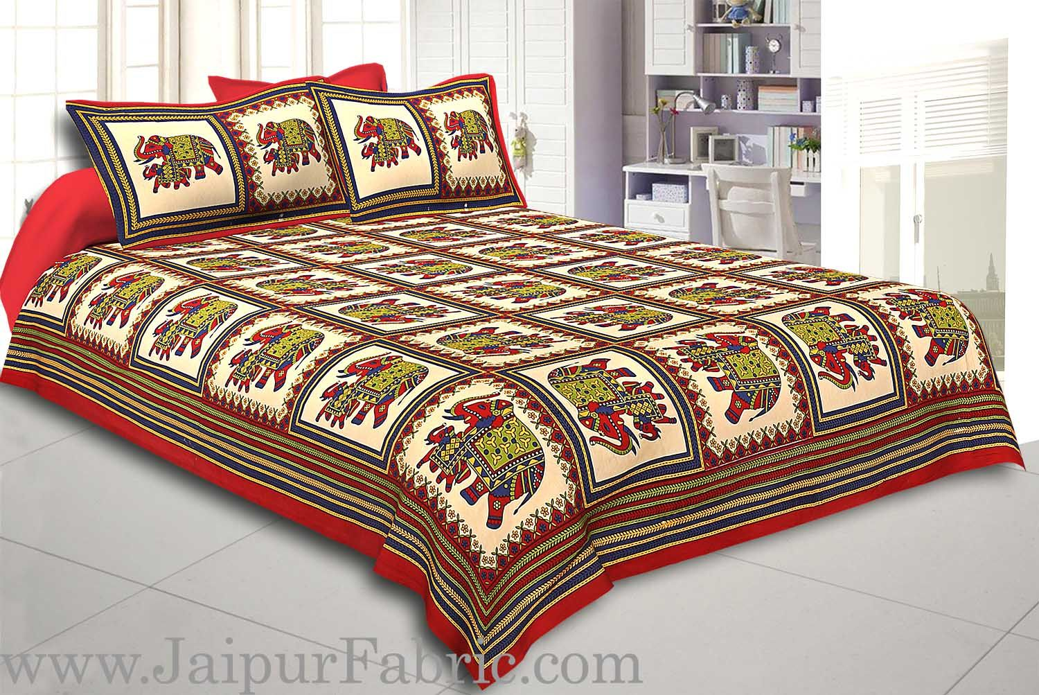 Red Border Big Elephant In Check Cotton Double Bed Sheet