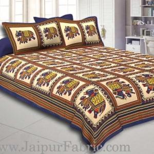 Blue Border Big Elephant In Check Cotton Double Bed Sheet