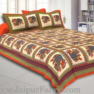 Orange Border Big Elephant In Check Cotton Double Bed Sheet