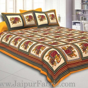 Yellow Border Big Elephant In Check Cotton Double Bed Sheet