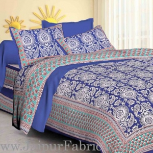 Blue Border Large Booty Print Cotton Double Bed Sheet