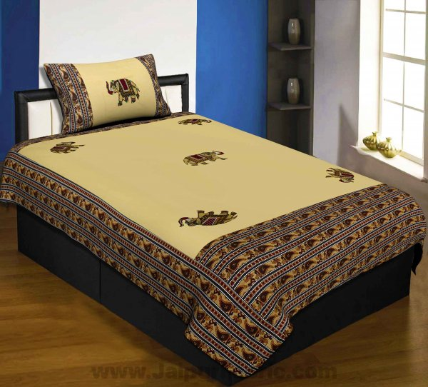 Applique Cream Elephant Jaipuri  Hand Made Embroidery Patch Work Single Bedsheet