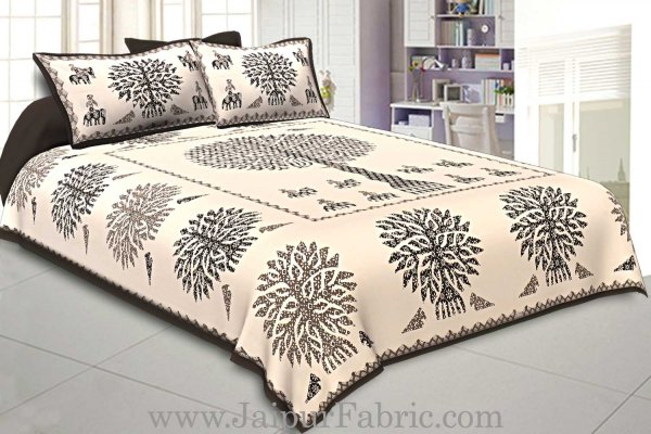 Double Bedsheet Tree Pattern In Row With Two Pillow Cover