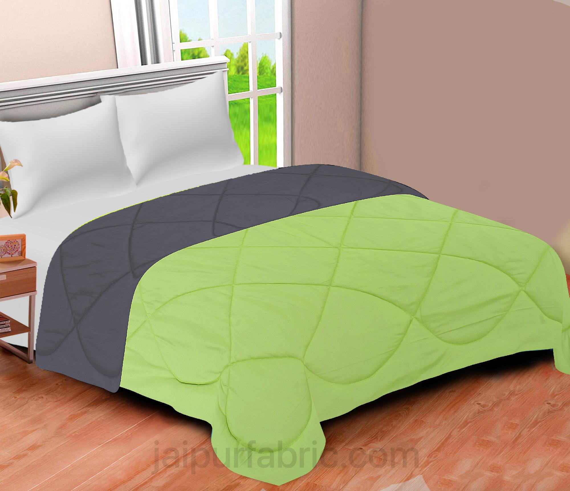 Dark Grey Lemon Green Double Bed Comforter