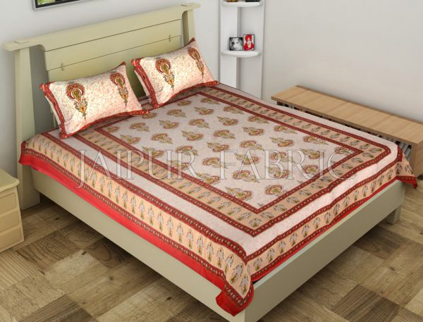 Red Jaipuri Keri Printed Cotton Single Bed Sheet