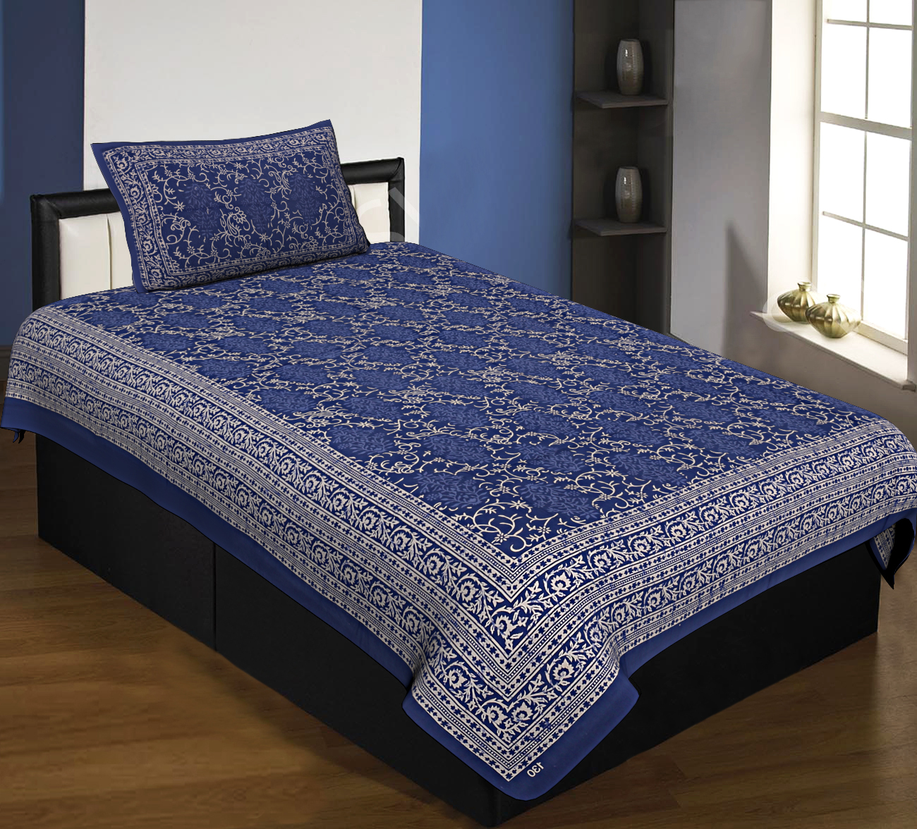 Floral Single Bedsheet Royal Blue with 2 Pillow Covers