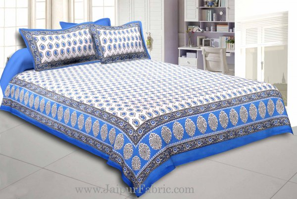Blue Border With  Boota  White Base With Small Kerry Print Cotton Double Bed Sheet