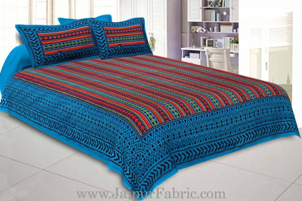 Double Bedsheet Katha Work Sea Green Border  Zig-Zag Print With Two Pillow Cover