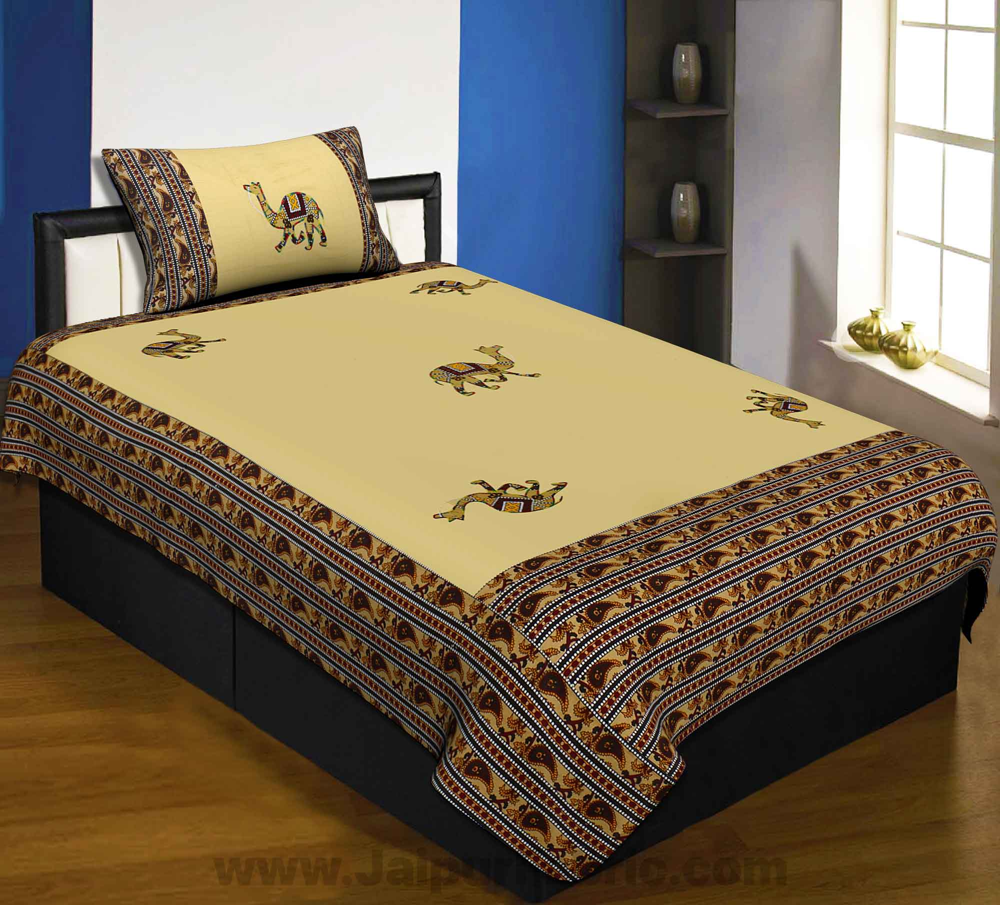 Applique Cream Camel Jaipuri  Hand Made Embroidery Patch Work Single Bedsheet