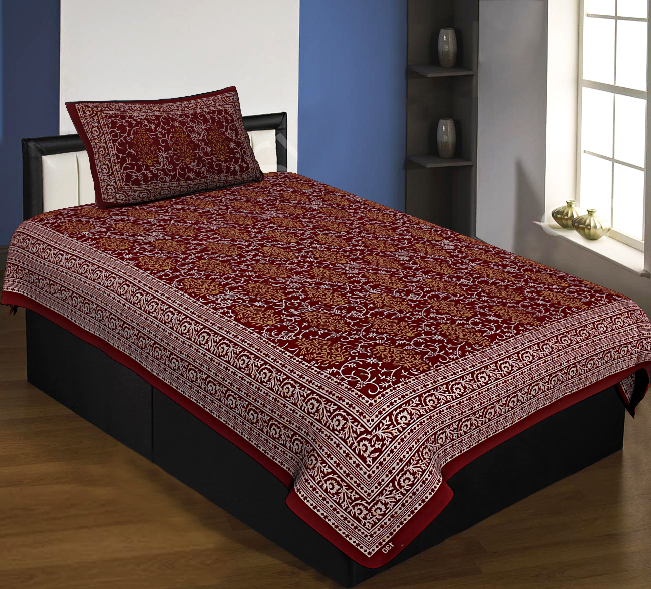 Floral Single Bedsheet Maroon with 2 Pillow Covers