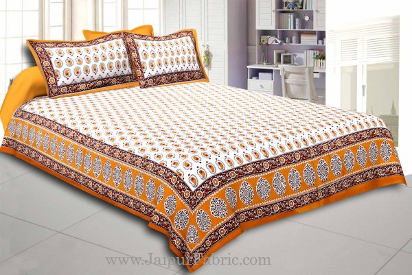 Brown Border With  Boota  White Base With Small Kerry Print Cotton Double Bed Sheet
