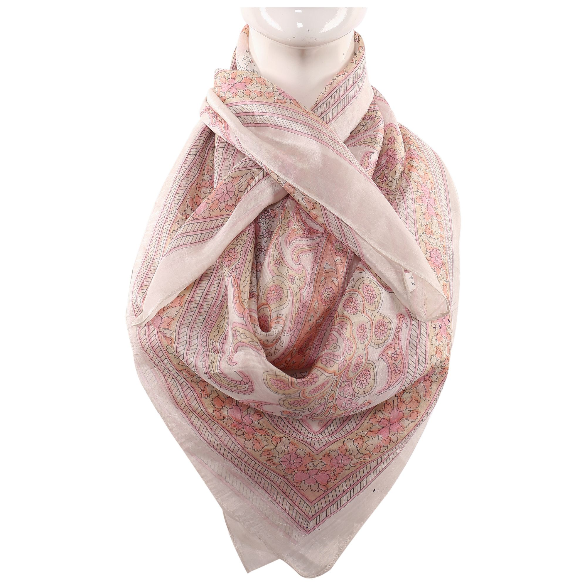 Silk Scarf Cream Border  Attractive Look  Print