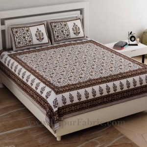Ethnic Brown Double Bedsheet Jaal Print