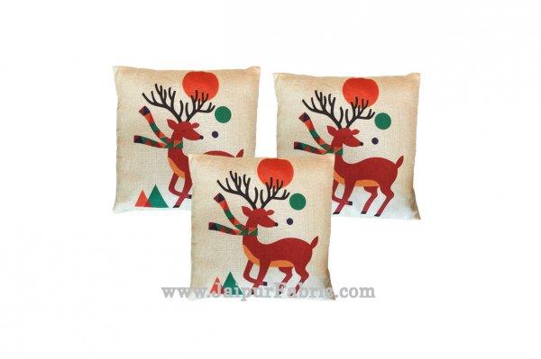 Jute Cushion Cover Digital Print Christmas Deer