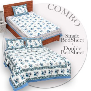 COMBO368 Beautiful Blue Colour Combo Set of 1 Single and 1 Double Bedsheet With 3 Pillow Cover