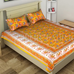 Yellow Elephant and Tropical Printed Rajasthani Cotton Single Bed Sheet