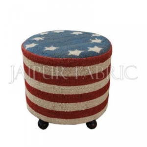 Wooden Round Stool Upholstered with Wool and Jute Kilim Woven