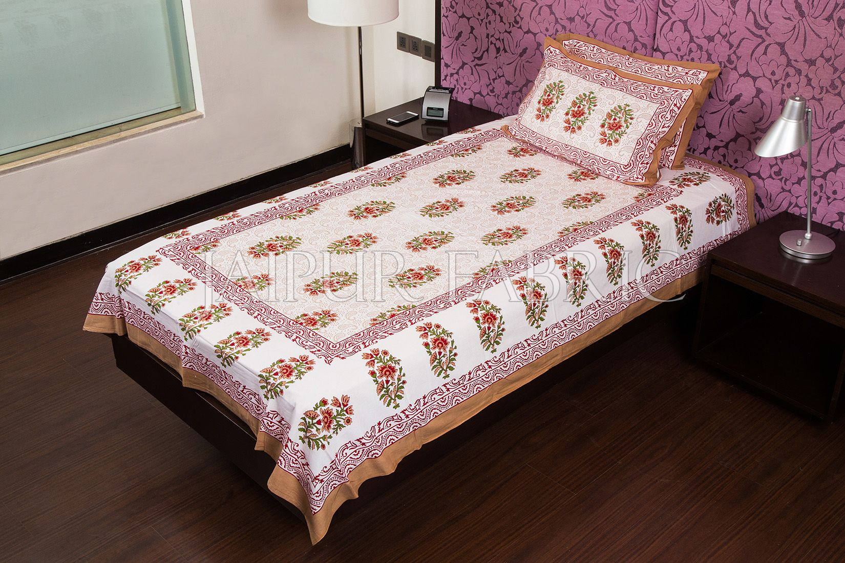 White Base Brown Floral Print Cotton Single Bed Sheet