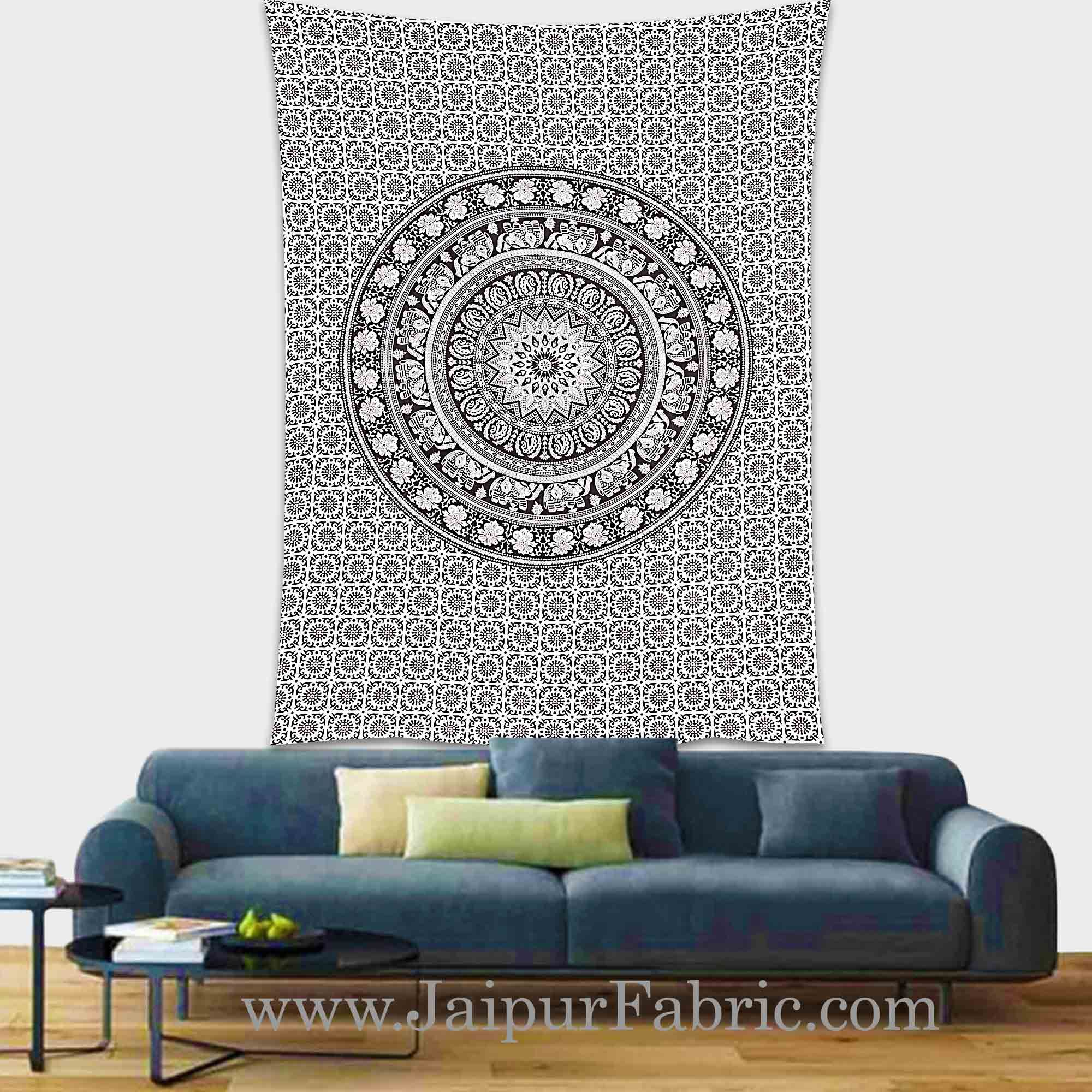 Black and White Tapestry with concentric circle mandala design wall hanging and beach throw 90x60
