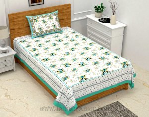 SeaGreen Bunch of Flowers Single Bedsheet