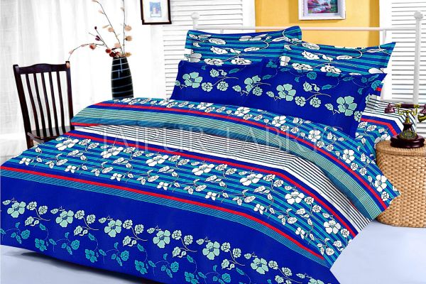 Blue and Black Slanting Stripe and Floral Print King Size Cotton Bed Sheet