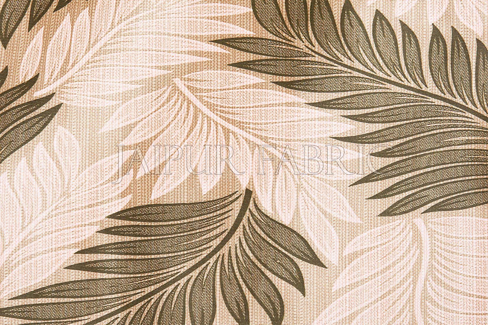 Beige Base Green Color Printed Polyester Curtain