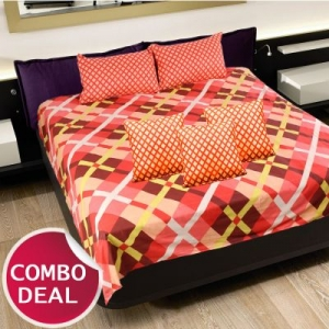 COMBO17 - Set Of Double Bed Sheet and 3 Cushion Covers