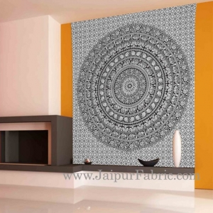 Black and White Tapestry with concentric circle mandala design wall hanging and beach throw 95x85