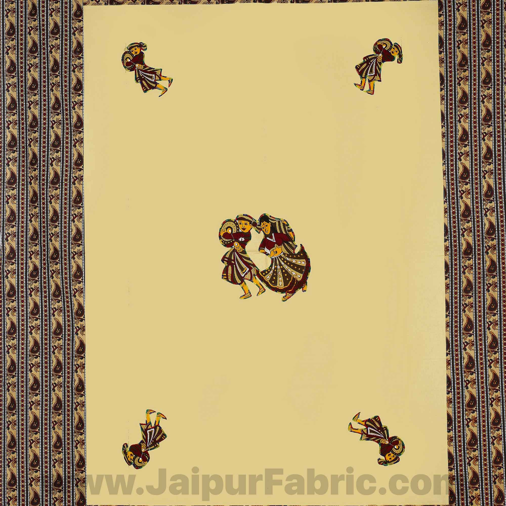 Applique Cream Chang Dance Jaipuri  Hand Made Embroidery Patch Work Single Bedsheet