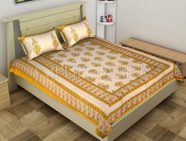 Yellow Jaipuri Keri Printed Cotton Single Bed Sheet