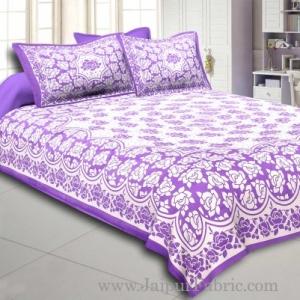 Purple Border Purple Base White Lotus Print Cotton Double Bed Sheet