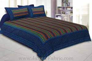 Katha Work Double Bedsheet Blue Border Ziz-Jaz Print